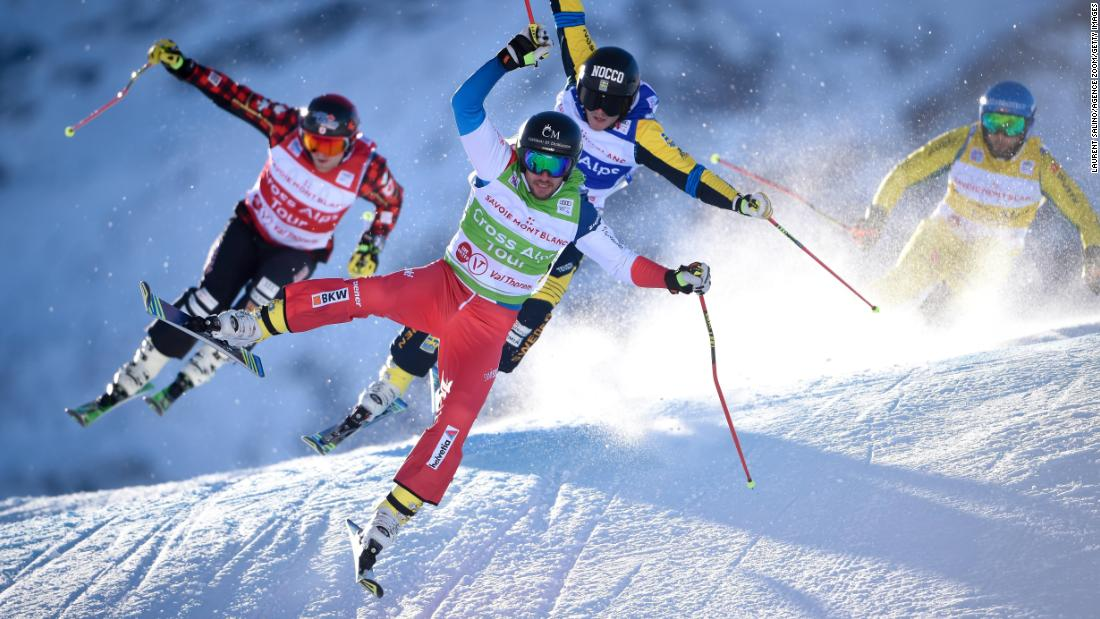 Switzerland's Joos Berry leads a pack of ski-cross racers during a World Cup event in Val Thorens, France, on Thursday, December 7.