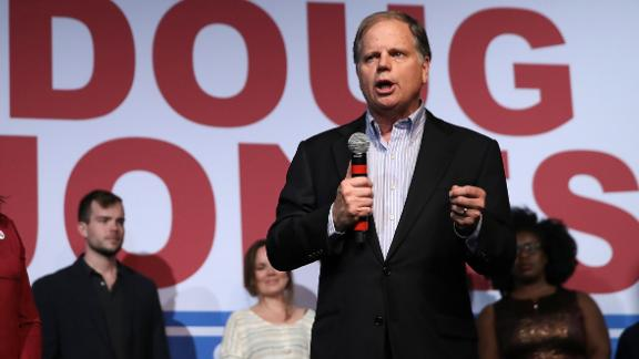 BIRMINGHAM, AL - DECEMBER 11:  Democratic Senatorial candidate Doug Jones speaks during a get out the vote campaign rally on December 11, 2017 in Birmingham, Alabama. Jones is facing off against Republican Roy Moore in tomorrow's special election for the U.S. Senate.  (Photo by Justin Sullivan/Getty Images)