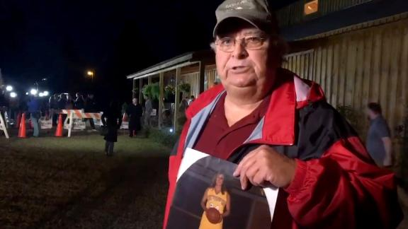Screengrab from NBC reporter Vaughn Hillyard's video of Nathan Mathis outside Roy Moore's 12-11-2017 rally in Midland City, Alabama