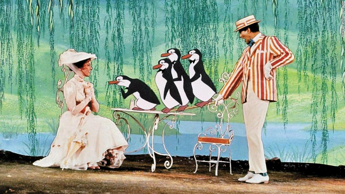 "Penguins in the movie ""Mary Poppins"" did a waddling dance with Dick Van Dyke to impress Mary, played by Julie Andrews. In the beginning of penguin evolution, they probably did fly, but they soon lost that ability and instead became great swimmers."