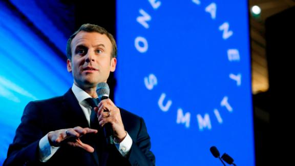French President Emmanuel Macron delivers a speech during the