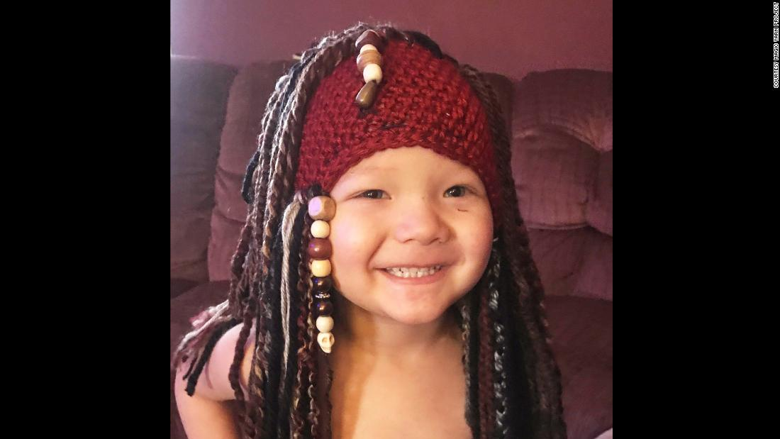 The Magic Yarn Project also makes character wigs and beanies -- like this Capt. Jack Sparrow one -- that are more popular with boys, although any child can request any wig they want.