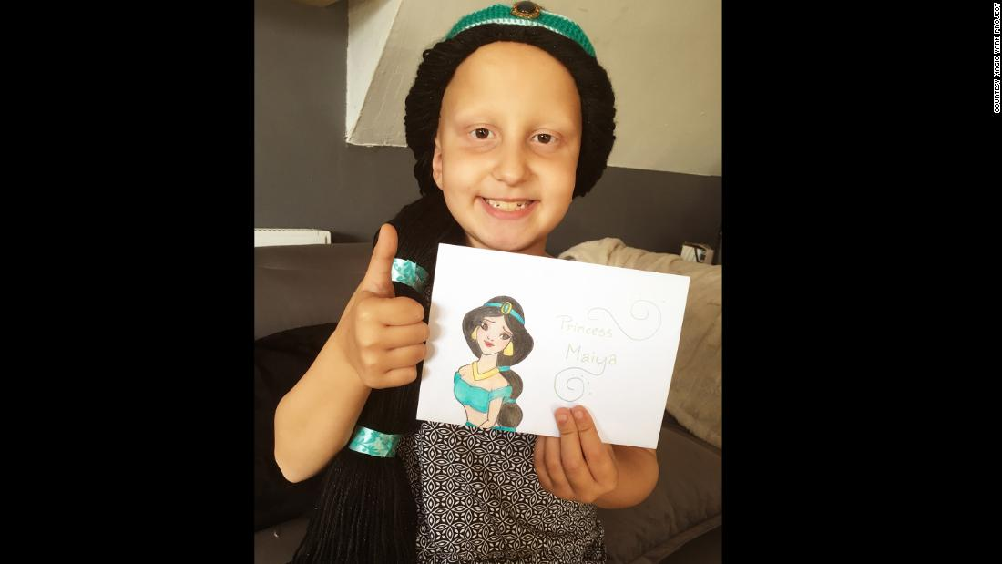 "Eight-year-old Maiya, who has alopecia totalis, received a Jasmine wig from the Magic Yarn Project after losing all her hair. The ""Aladdin"" heroine is one of her favorite princesses because she followed her heart."