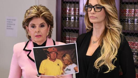 Jessica Drake (R), who works for an adult film company, speaks beside attorney Gloria Allred (L) about allegations of sexual misconduct against Donald Trump during a news conference in Los Angeles on October 22, 2016.