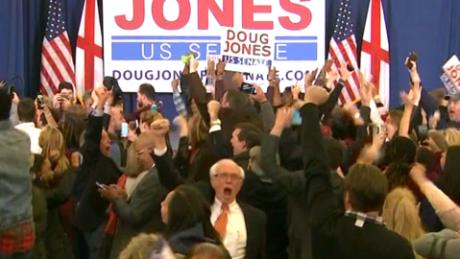 Cheers erupt at Jones headquarters