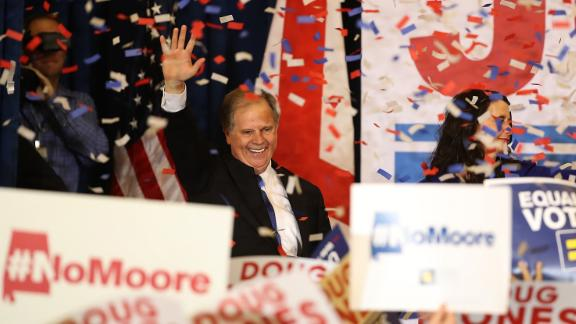 BIRMINGHAM, AL - DECEMBER 12: Democratic U.S. Senator elect Doug Jones greets supporters during his election night gathering the Sheraton Hotel on December 12, 2017 in Birmingham, Alabama. Doug Jones defeated his republican challenger Roy Moore to claim Alabama