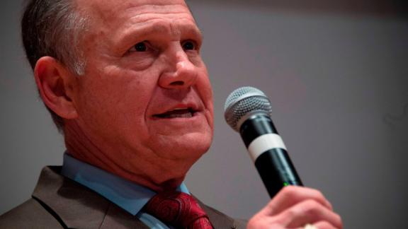 Republican Senatorial candidate Roy Moore addresses his supporters in Montgomery, Alabama, on December 12, 2017.