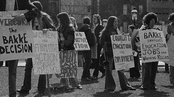 About 50 protesters gather in Pittsburgh Market Square, April 8, 1978, to rally against the California Bakke decision that changes the program at the University of California at Davis Medical School. Speakers said the decision has had an adverse effect on many affirmative action programs around the country. The protesters hope to influence the Supreme Court's decision on the case. (AP Photo)