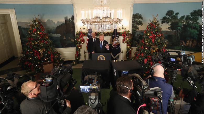 trumps most christmas y speech setting was without a doubt the day he recognized jerusalem as israels capital flanked by two christmas trees and vice - Trump Christmas Decorations
