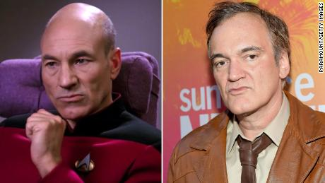 "Patrick Stewart as Captain Jean-Luc Picard in ""Star Trek: The Next Generation"" and director Quentin Tarantino."