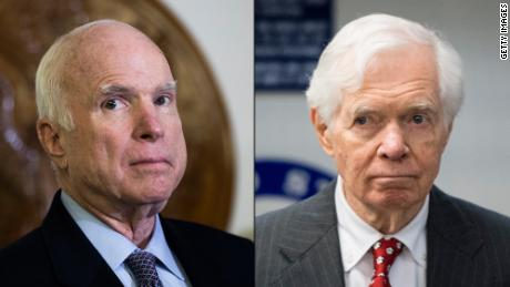 Sens. John McCain of Arizona (left) and Sen. Thad Cochran of Mississippi (right), both Republicans