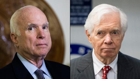 Sens. John McCain of Arizona (left) and Sen. Thad Cochran of Mississippi (right), both Republicans