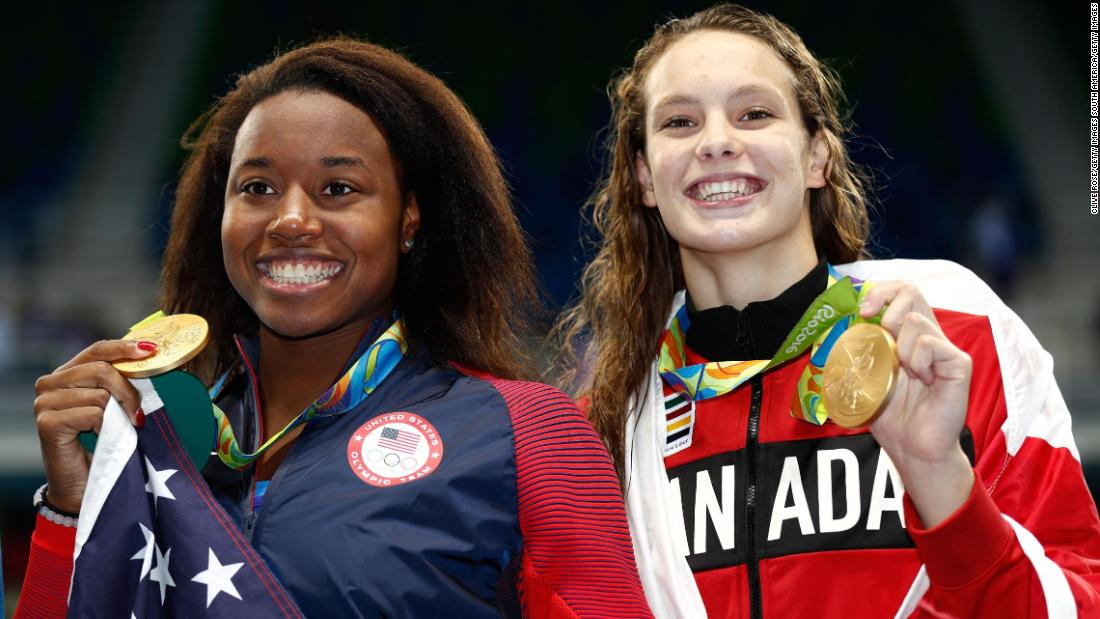 When Oleksiak (R) won the women's 100m freestyle final at Rio 2016, many of the headlines focused on the woman she tied with for gold. Simone Manuel of the US (L) was the first African-American Olympic swimming champion in history, but it should not be forgotten Oleksiak will still be just 17 years old when she competes on the Gold Coast.