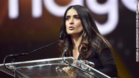 LAS VEGAS, NV - MARCH 30:  Actress/producer Salma Hayek accepts the CinemaCon Vanguard Award onstage during the CinemaCon Big Screen Achievement Awards brought to you by the Coca-Cola Company at The Colosseum at Caesars Palace during CinemaCon, the official convention of the National Association of Theatre Owners, on March 30, 2017 in Las Vegas, Nevada.  (Photo by Alberto E. Rodriguez/Getty Images for CinemaCon)