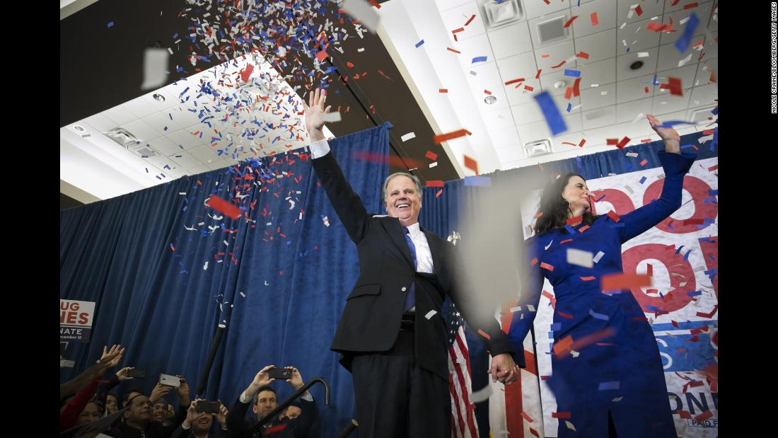 "Confetti falls on Doug Jones and his wife, Louise, after <a href=""http://www.cnn.com/2017/12/13/politics/doug-jones/index.html"" target=""_blank"">he won a special election</a> Tuesday, December 12, to become the next US senator from Alabama. Jones is the first Democrat that Alabama has elected to the Senate since 1992. He defeated Roy Moore, a Republican who has been accused by multiple women of pursuing relationships with them when they were teenagers and he was in his 30s. Some of them have also accused Moore of sexual assault or abuse. Moore, now 70, has denied the allegations, painting them as a smear campaign by the Democratic Party and the media."