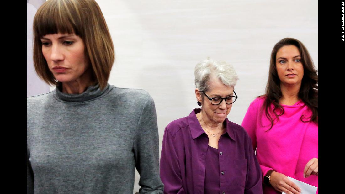 "From left, Rachel Crooks, Jessica Leeds and Samantha Holvey leave a news conference in New York where <a href=""http://www.cnn.com/2017/12/11/politics/donald-trump-women-allegations/index.html"" target=""_blank"">they publicly accused US President Donald Trump</a> of sexual harassment and assault on Monday, December 11. White House press secretary Sarah Sanders said the allegations took place ""long before"" Trump was elected President and that he has ""addressed these accusations directly and denied all of these allegations."""