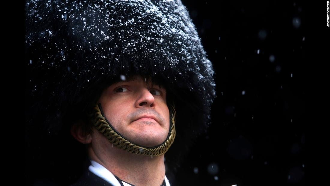 James Hurd, drum major of the Naval Academy Band, waits to lead the band onto a snowy field in Philadelphia before the annual Army-Navy football game on Saturday, December 9.