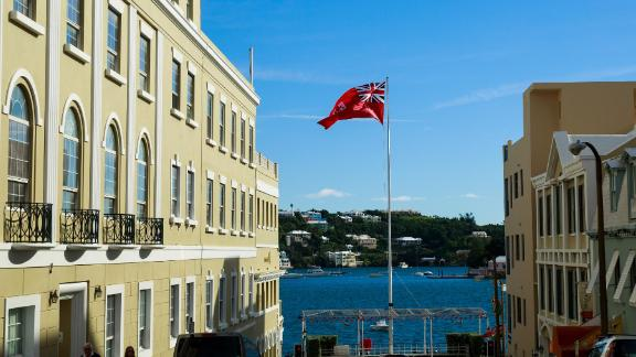 The flag of Bermuda flies in the city of Hamilton.
