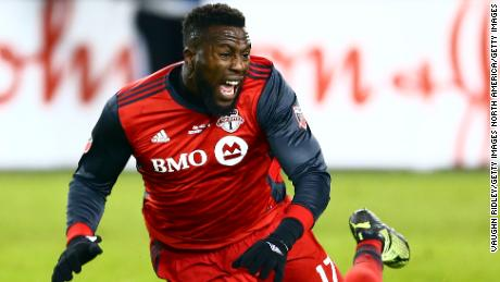 TORONTO, ON - DECEMBER 09:  Jozy Altidore #17 of Toronto FC is fouled during the 2017 MLS Cup Final against the Seattle Sounders at BMO Field on December 9, 2017 in Toronto, Ontario, Canada.  (Photo by Vaughn Ridley/Getty Images)