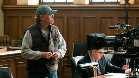 Behind the scenes with Director Aaron Sorkin on the set of 'Molly's Game.'