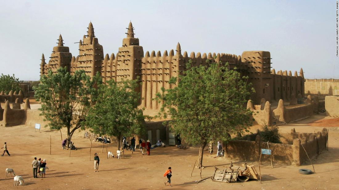 The Great Mosque of Djenné<strong> </strong>dates from the 13th century, and is the first mosque built at the complex in Mali's Niger Delta region. The adobe-style building, made from earthen bricks and mud plaster, fell into disrepair, and was reconstructed in 1907.<strong> </strong>The Great Mosque was designated as a World Heritage Site by UNESCO in 1988 and is the largest earthen mud building in the world.