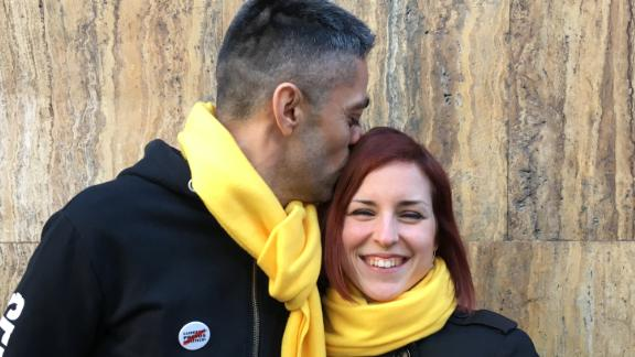 Alexandra Galceran Latorre, right, with her boyfriend Ricard Ots. The pair bonded over their support for an independent Catalonia.