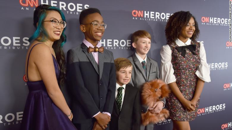 NEW YORK, NY - DECEMBER 17:  (L-R) The 2017 Young Wonders Christina Li, Sidney Keys III, Ryan Hickman, Campbell Remess, and Halie Thomas attend CNN Heroes 2017 at the American Museum of Natural History on December 17, 2017 in New York City. 27437_017  (Photo by Kevin Mazur/Getty Images for CNN)
