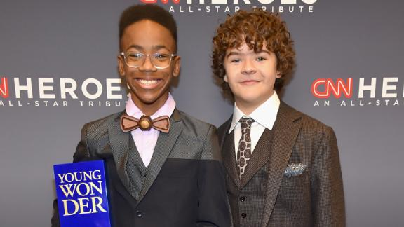 """Young Wonder honoree Sidney Keys III and Gaten Matarazzo pose backstage during """"CNN Heroes All-Star Tribute."""""""
