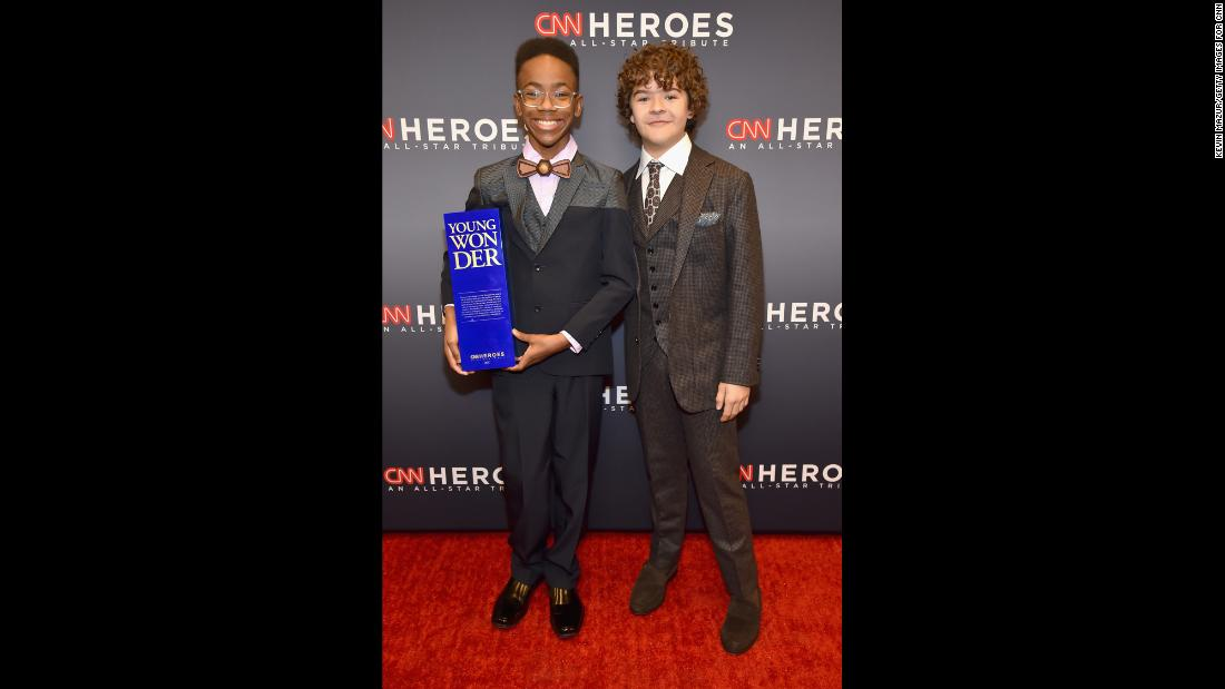 "Young Wonder honoree Sidney Keys III and Gaten Matarazzo pose backstage during ""CNN Heroes All-Star Tribute."""