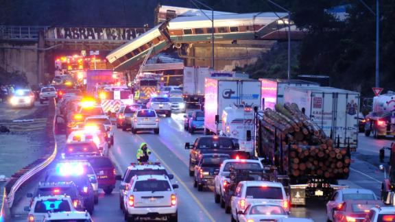 Some motorists were also injured by the fallen train cars.