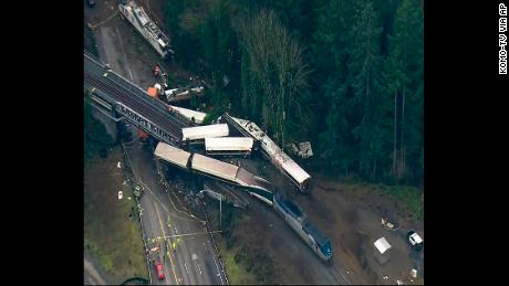 This aerial image from video provided by KOMO-TV shows the derailed train.