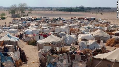 Some three million people have been forced to flee their homes for safety since the conflict began in March 2017. Some end up in filty make shift camps like this one where virtually no basic services exist.