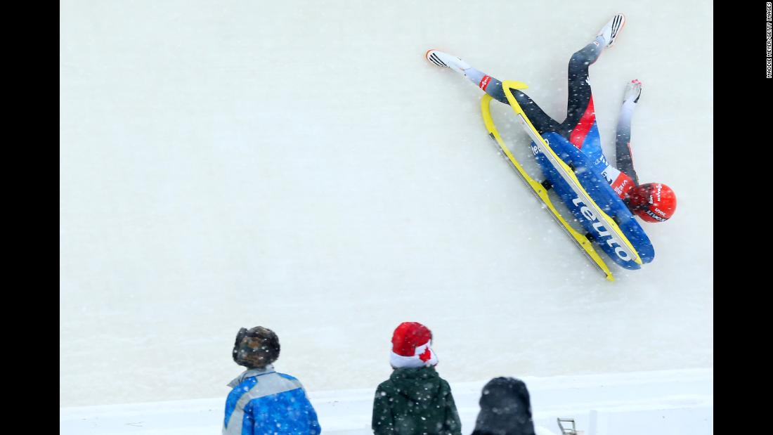 German luger Julia Taubitz crashes during a World Cup event in Lake Placid, New York, on Saturday, December 16.