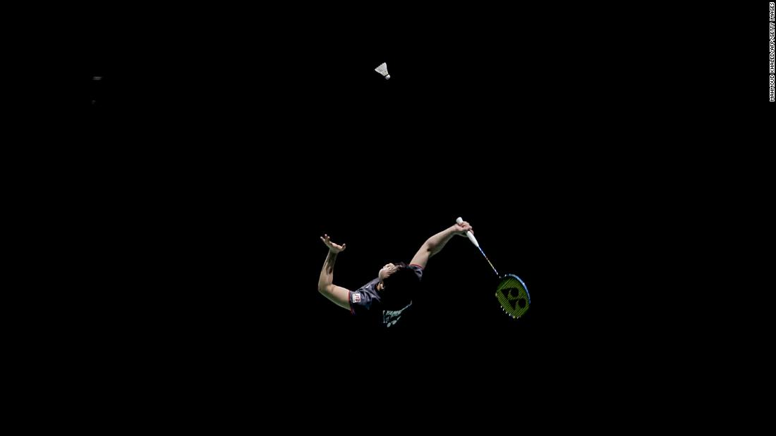 Japanese badminton player Akane Yamaguchi returns a shot Friday, December 15, during the Super Series Finals, a tournament in Dubai, United Arab Emirates. Yamaguchi defeated India's P.V. Sindhu to win the women's singles title.
