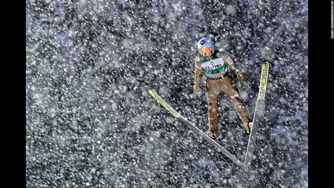 Polish ski jumper Kamil Stoch competes in a World Cup event in Engelberg, Switzerland, on Saturday, December 16.