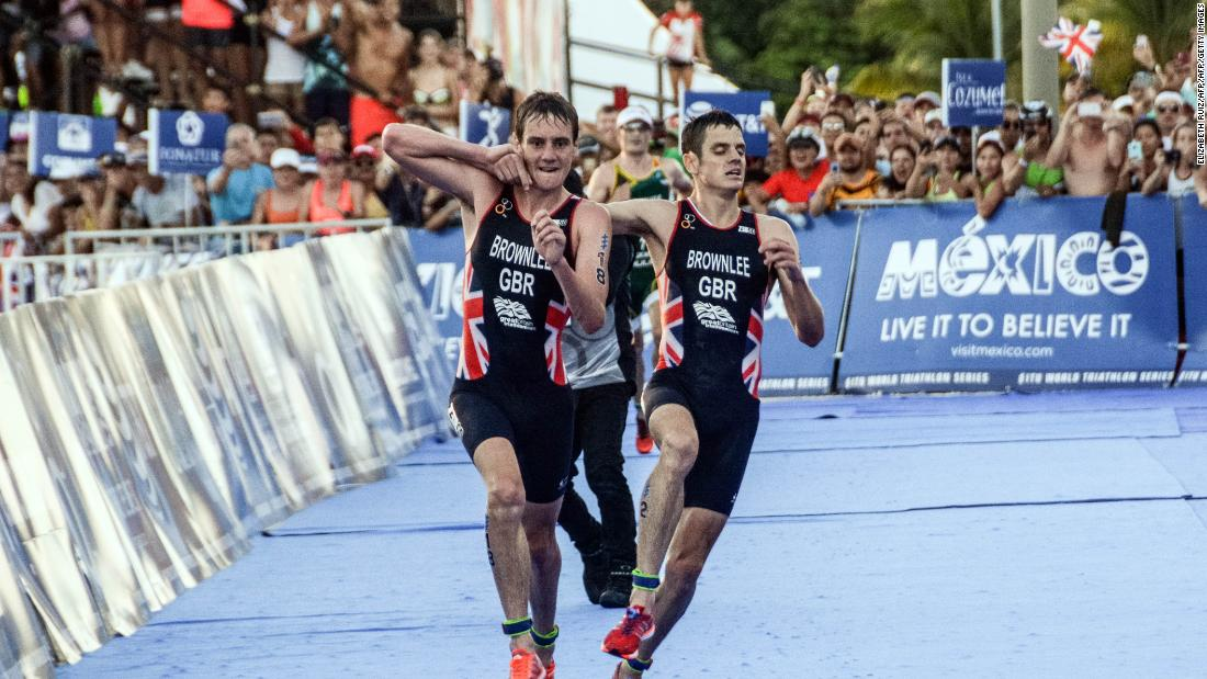 In September 2016, Britain's Brownlee brothers went viral after Alistair (left) carried an ailing Jonny over the line at the World Triathlon Championships in Mexico.