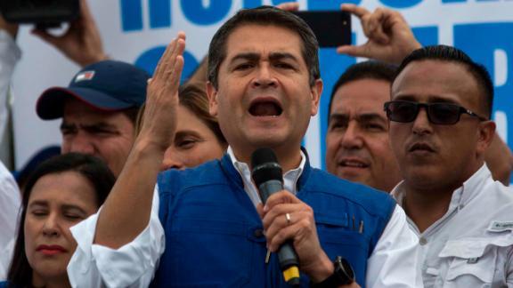 Honduran President Juan Orlando Hernandez speaks to his party base, in Tegucigalpa, Honduras, Thursday, Dec. 7, 2017.