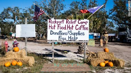 Rockport resident Samantha McCrary set up a relief camp in her sprawling back yard.