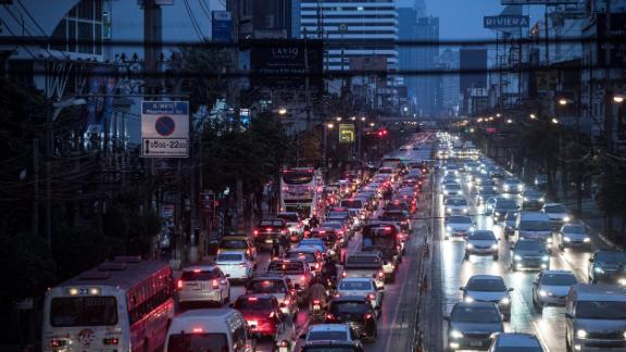 Over in the capital of Thailand, drivers spent an average of 64 hours in rush hour traffic.