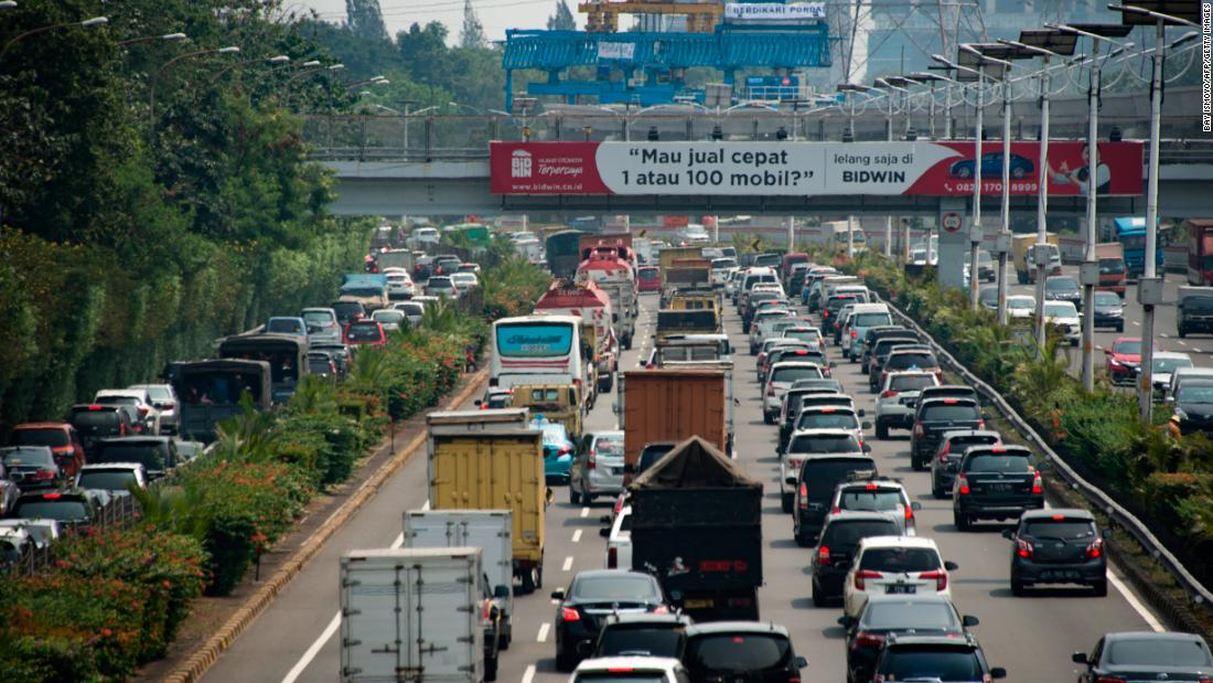 A traffic jam on a Jakarta highway. If you drive here during rush hour traffic, expect to spend up to 63 hours stuck in congestion per year, as drivers in the city did in 2017.