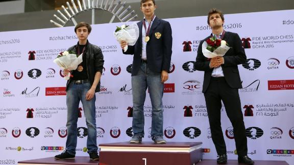 Russian grandmaster Sergey Karjakin toppled current World Chess Champion Magnus Carlsen to win the World Blitz Chess Championship title in Doha in 2016. Carlsen (R) took silver and Russian grandmaster Daniil Dubov (L) took bronze.