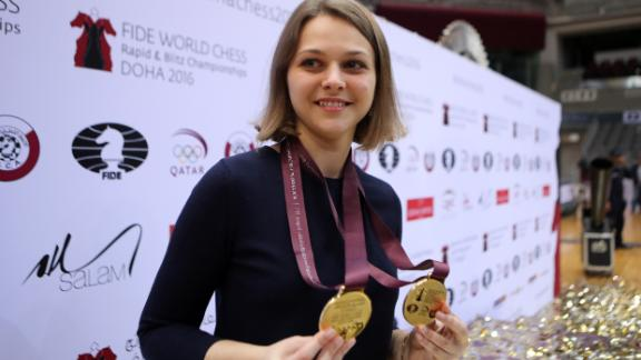 Ukraine's grandmaster Anna Muzychuk won both the Women Rapid and Women Blitz Championships in Doha last year.