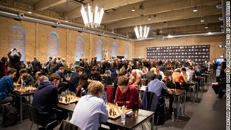 Chess players compete at the 2015 World Chess Rapid and Blitz Championship in Berlin, Germany.