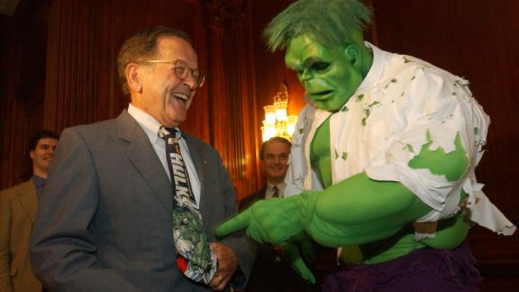 "UNITED STATES - JUNE 19:  THE HULK--Sen. Ted Stevens, R-Alaska, meets ""The Hulk"" during a party at the U.S. Capitol hosted by Stevens, Marvel Enterprises and Universal Studios, in tribute to the release of Universal Studio"