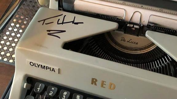 Actor Tom Hanks gifted this Olympia typewriter to the de Peyster family.