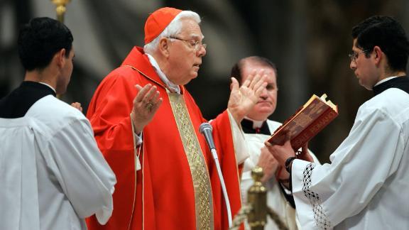 This photo, from April 2005, shows Cardinal Bernard Law celebrating Mass at St. Peter