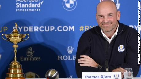 PARIS, FRANCE - OCTOBER 17:  Thomas Bjorn, Captain of Europe speaks during a Ryder Cup 2018 Year to Go Captains Press Conference at the Pullman Paris Tour Eiffel Hotel  on October 17, 2017 in Paris, France.  (Photo by Aurelien Meunier/Getty Images)