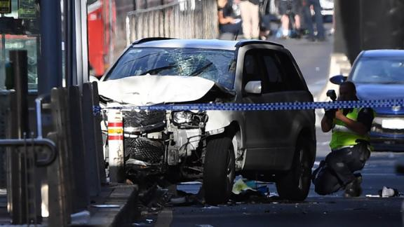 A damaged vehicle at the scene of an incident on Flinders Street, in Melbourne, Australia, 21 December 2017.