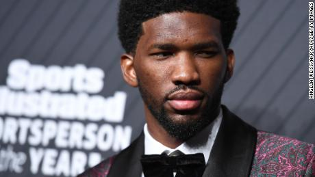 Professional basketball player Joel Embiid arrives for the 2017 Sports Illustrated Sportsperson of the Year Award Show on December 5, 2017, at Barclays Center in New York City.  / AFP PHOTO / ANGELA WEISS        (Photo credit should read ANGELA WEISS/AFP/Getty Images)