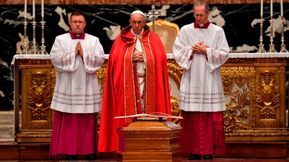 Pope Francis attends the funeral Mass of Cardinal Bernard Law on Thursday, December 21, at St. Peter